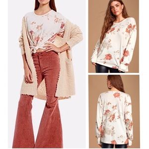 Free People Arielle Ivory Floral Long Sleeve Top
